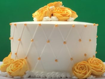 frosted cake with icings design